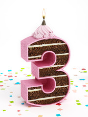 Number 3 shaped chocolate birthday cake with lit candle