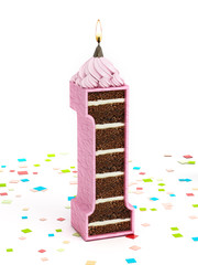 Number 1 shaped chocolate birthday cake with lit candle