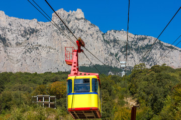 Ropeway to Ai-Petri in Crimea mountains, Ukraine