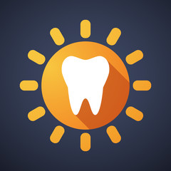 Sun icon with a tooth