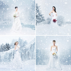 Young and beautiful brides on winter backgrounds.
