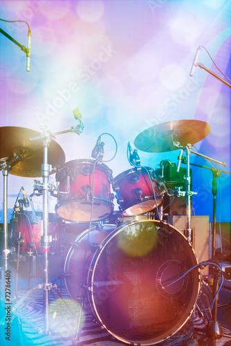 Drum set on stage - 72786480