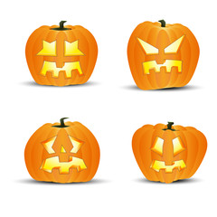 Four different halloween pumpkins