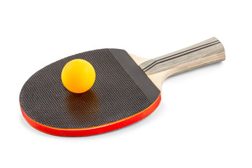 Racket with an orange ball for ping-pong