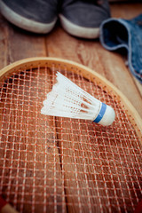 shuttlecocks on a racket for a badminton