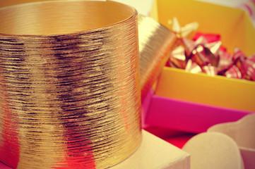 boxes, golden ribbons and ribbon bows