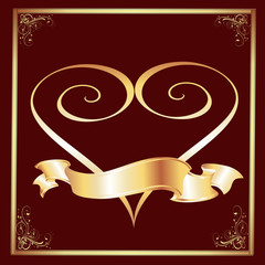 Marron Background with a Gold Frame and Heart