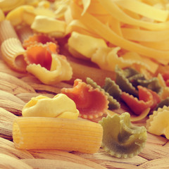 uncooked pasta, with a filter effect