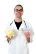 friendly doctor with piggy bank and euros