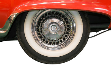 Close Up of Whitewall Tire of Classic Car