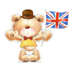 Teddy bear with the  UK flag in the hat