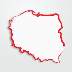 polska, mapa, kontur