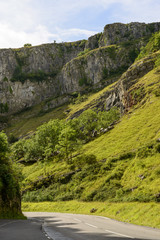 road and cliffs at Cheddar gorge, Somerset