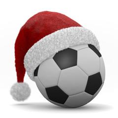 pallone da calcio con cappello di natale
