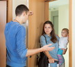 Afflicted woman leaving from husband