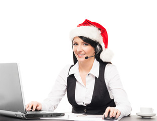 Beautiful support operator in Christmas hat working