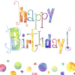 happy birthday greeting card with text ,drops, stars