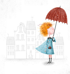 Red-head girl with umbrella in blue coat on city background.