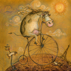 Cute cow on the bicycle.