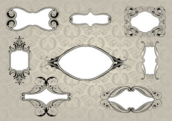 Set of retro frame with background pattern