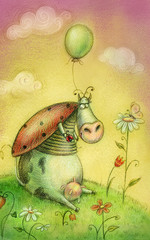 Cute cow with balloon.Childish background in vintage colors.