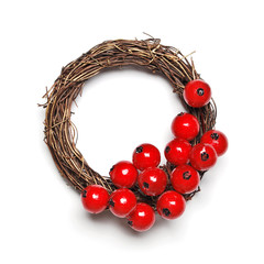 Christmas wreath decoration on white background
