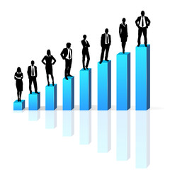 Business people standing on 3d financial bar graph group black