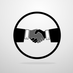 Handshake icon vector silhouette business hands shake