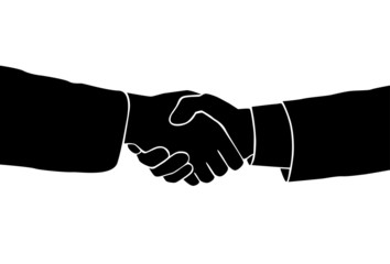 Handshake icon vector sillouette black business