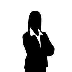 businesswoman portrait silhouette, female icon avatar