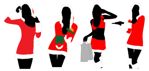 New year women silhouettes