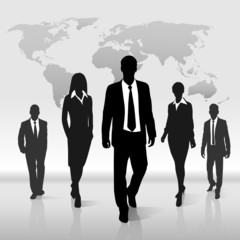 Business people group walk silhouette over world map