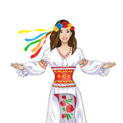 girl welcome hand gesture in ukrainian national traditional