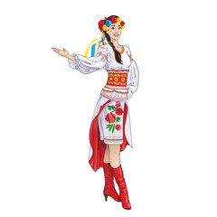 girl welcome hand ukrainian costume clothes
