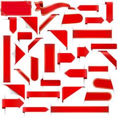 set of red design elements