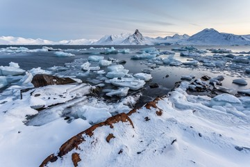 Winter in the Arctic - coast of Spitsbergen, Svalbard