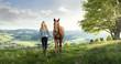 Leinwandbild Motiv Hübsches Mädchen mit Pferd