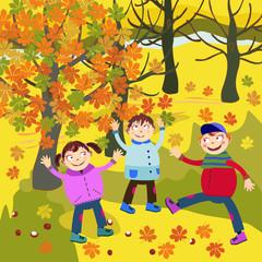 dzieci jesienią