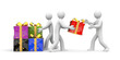 People unload gift boxes