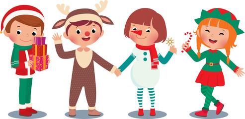 Children celebrating Christmas in Christmas Costumes