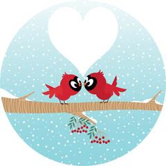 Loving birds on a branch