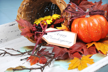 Happy Thanksgiving cornucopia on vintage tray setting