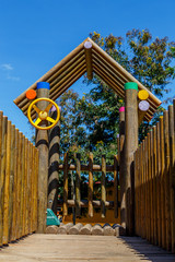 detail of Colorful children playground in the park