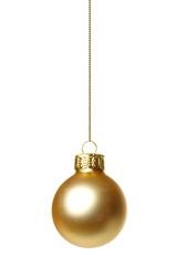 Single hanging gold Christmas ornament isolated on white