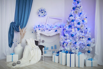 Christmas tree, fireplace, watches, toys, gifts in a white room