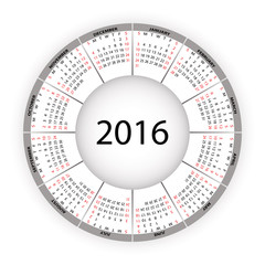 Round calendar for 2016 year. Vector EPS10.