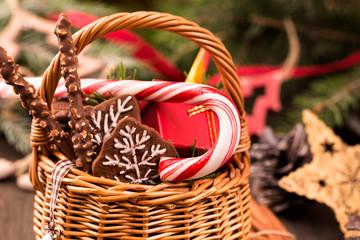 Basket of Christmas decorations closeup