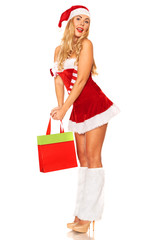 Santa Claus girl with purchases