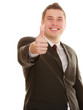 Happy man showing thumb up hand gesture