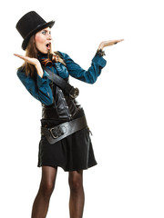 beautiful steampunk woman showing open palm isolated.